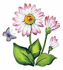 White Daisy Pink Flowers Butterfly Select-A-Size Waterslide Ceramic Decals Bx image