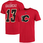 Reebok Johnny Gaudreau Calgary Flames Red Name and Number T-Shirt