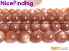 Orange Natural Moonstone Round Gemstone Beads For Jewelry Making 6mm 8mm 10-12mm