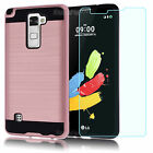 For LG G Stylo 2/LS775 Hybrid Armor Shockproof Case Cover+Glass Screen Protector