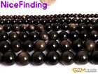 Natural Gold Obsidian Round Beads For Jewelry Making Gemstone 15'' 4mm 6mm-14mm