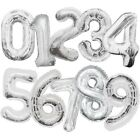 "Numeral Foil Balloons (34"") Silver Glitz (All Ages) Helium Quality {Unique}"
