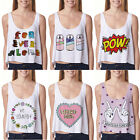 Women's Emoji Printed Tank Top Vest Blouse Sexy Sleeveless Cartoon Crop T-Shirt