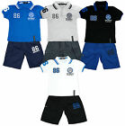 Boys University Collar 86 Polo T-Shirt Top & Combat Shorts Set 2 to 12 Years