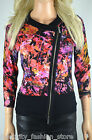 Karen Millen Multi Floral Zip Evening Dress Cardigan Knit Jacket 3 12 40 New