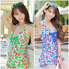 Women's Ladies One Piece Floral Ruched Halter Push Up Slim Tankini Swim Dress