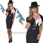8-18 Sexy Gangster Moll Costume + Pink Neck Scarf 20s Ladies Fancy Dress Outfit