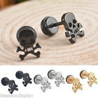 1Pair New Fashion Stainless Steel Men's Simple Skull Ear Stud Earrings Punk