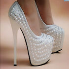 Handmade Womens Pearl Platform High Heels Round Toe Weeding Dress Stilettos B436