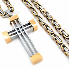 "Men's Silver Gold Cross Pendant With Stainless Steel 18""-28"" Chain Necklace"