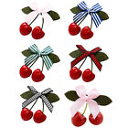 Especial Women Girl Kids Retro Vintage Pink Bow Cherry Hair Clip Hairpin