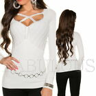 Sexy Women's European Cut Out Jumper Sweater Stylish Knitted Top Size 8 10 S M