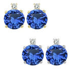 0.01 Carat Diamond Round Sapphire Gemstone Earrings 14K White Yellow Gold