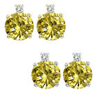 0.01 Carat TCW Diamond Round Citrine Gemstone Earrings 14K White Yellow Gold