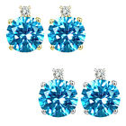 0.01 Carat Diamond Round  Blue Topaz Gemstone Earrings 14K White Yellow Gold