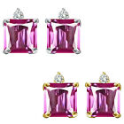 0.01 Carat TCW Diamond Princess PinkTopaz Gemstone Earring 14K White Yellow Gold