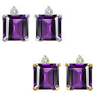 0.01 Ct TCW Diamond Princess Amethyst Gemstone Earrings 14K White Yellow Gold