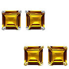 6mm Princess CZ Citrine Birthstone Gemstone Stud Earrings 14K White Yellow Gold