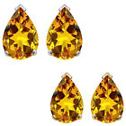 8x5mm Pear CZ Citrine Birthstone Gemstone Stud Earrings 14K White Yellow Gold