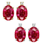 0.01 Carat TCW Diamond Oval Ruby Gemstone Earrings 14K White Yellow Gold