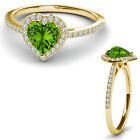 8MM Peridot Birth Gem Stone Halo Solitaire Heart Love Ring 14K Yellow Gold