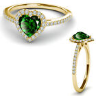 8MM Emerald Birth Gem Stone Halo Solitaire Heart Love Ring 14K Yellow Gold