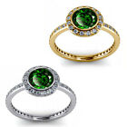 1.50 Carat Diamond Emerald GemStone Halo 14K Yellow-White Gold Engagement Ring