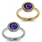 1.50 Carat Diamond Amethyst GemStone Halo 14K Yellow-White Gold Engagement Ring