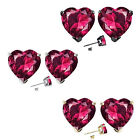 6mm Heart CZ Ruby Birth Gemstone Stud Earring Strling Silver 14k Gold Plated