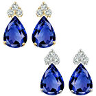Pear Shape Sapphire Gem Birth stone Earrings Silver White/Yellow Gold Plated