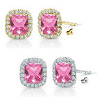 6mm Pink Topaz Birthstone Gem Stud Halo Solitaire Cushion Silver Earrings