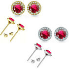 6mm Ruby Birthstone Gem Stud Halo Solitaire Round Silver Earrings