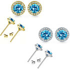 6mm Blue Topaz Birthstone Gem Stud Halo Solitaire Round Silver Earrings