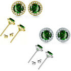 5mm Emerald Birthstone Gem Stud Halo Solitaire Round Silver Earrings