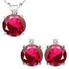 Ruby Round Birth Gem Stone Set Pendant Earring 14K White Yellow Gold Diamond