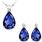 Sapphire Pear Birth Gem Stone Set Pendant Earring 14K White Yellow Gold Diamond
