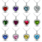 "Halo Heart Valentine Select Gem Birth Stone Pendant 14K White Gold 18"" Chain"