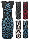Womens Scuba Panel Aztec Bodycon Midi Ladies Sleeveless Sexy Party Dress UK 8-14
