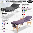 Portable Aluminium Wooden Massage Table 3 Fold Bed Therapy Waxing 55/70/75/80