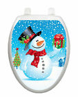 Snowman With Gift Toilet Tattoo  Removable Reusable Bathroom XMASS Decoration