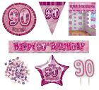 90th Birthday/Age 90 - PINK/GIRL PARTY ITEMS Decorations Tableware - Large Range