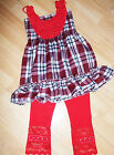 GIRLS RED ROSETTE CHECK TARTAN PRINT FRILLY PARTY DRESS TOP & LEGGING SET