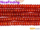 """Natural Red Agate Column Rondelle Disc Spacer Stone Beads For Jewelry Making 15"""""""