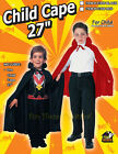 "Dracula Vampire 27"" Cape Child Kids Halloween Costume Magician Fancy Dress"