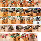 FL 1PC New Fashion Quartz DIY Weave Multilayer Leather Bracelet Watch For Women