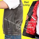 LEATHER MOTORCYCLE BIKER CLUB VEST OUTLAW STYLE GUN PKT 1 PIECE BACK- RED LINING