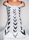GIRLS BLACK WHITE CHEVRON PATTERN SPARKLY SEQUIN EVENING DANCE PARTY DRESS