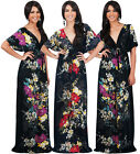 NEW Womens Multi Colored VNeck Kimono Floral Long Maxi Dress S M L XL 2X