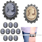 Women Vintage Charm Beauty Head Button Fit Punk Leather Bracelet DIY Alloy