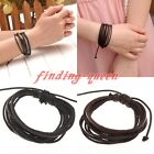 Black Brown Braided Woven Leather Multi-Layer Rope Surf Bracelet Wristband Cuff